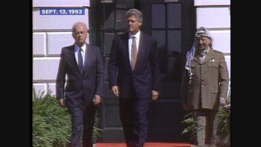 Israel, PLO leaders sign peace agreement at the White House.