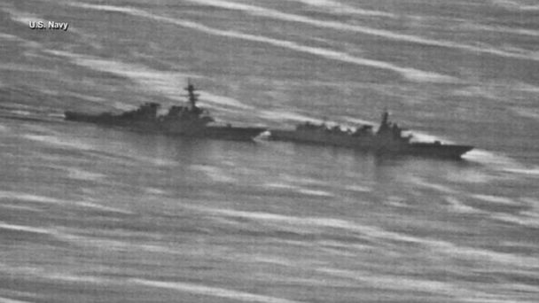VIDEO: A Chinese warship sailed 135 feet from the bow of the U.S. Navy destroyer USS Decatur on Sunday.