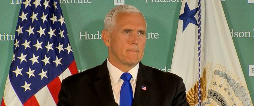 VIDEO: Vice President Mike Pence criticized China for its militarization of the South China Sea and its political interference in the U.S. and around the world.
