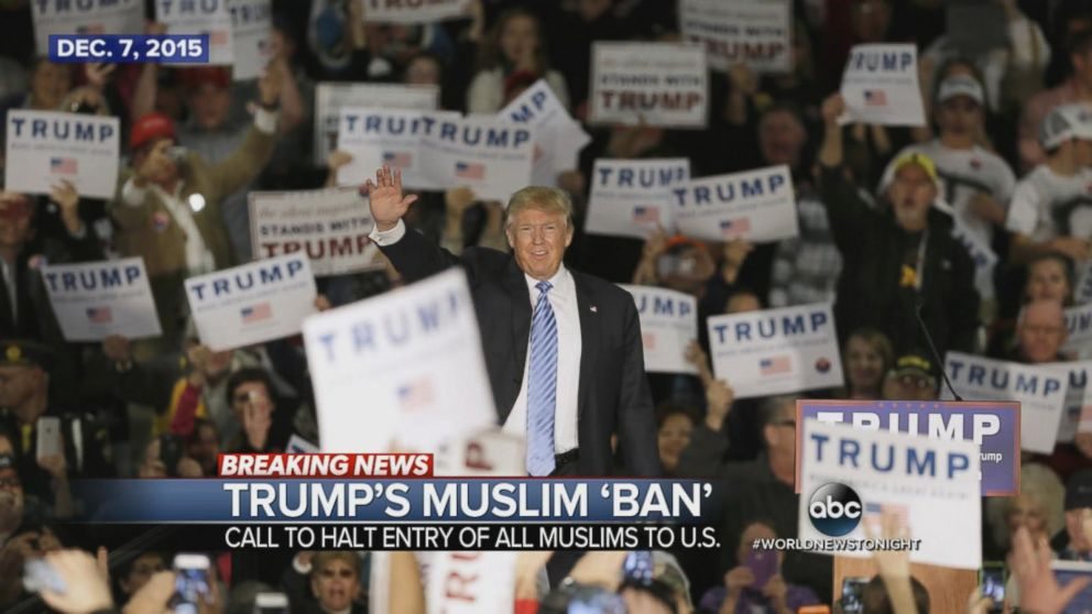 Presidential candidate Donald Trump proposes a Muslim ban.
