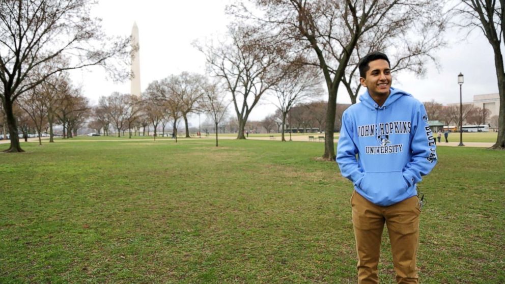 PHOTO: Eliott Flores on the National Mall during a trip for college visits arranged by his high school in Houston, where he lives. A junior, hes facing the quandary of affording college without the avenues for federal aid that many U.S. citizens receive.