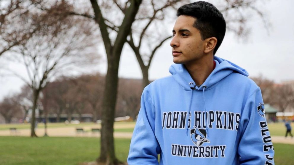 Eliott Flores, a 17-year old high school student and DACA recipient, on the National Mall during a recent class trip to visit colleges in the D.C. area.