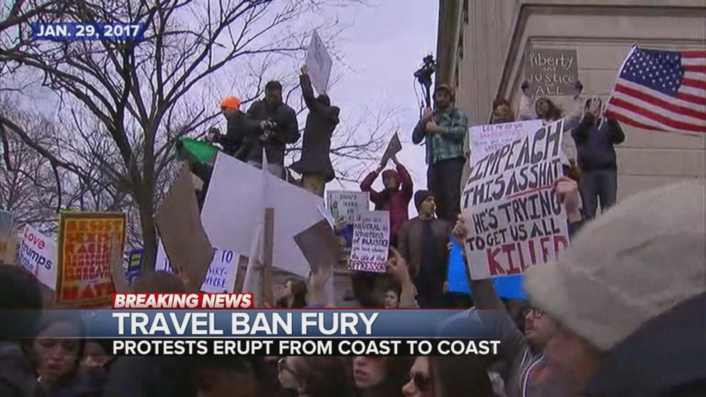 Protests erupt all the plan via the US in response to President Trumps commute ban.
