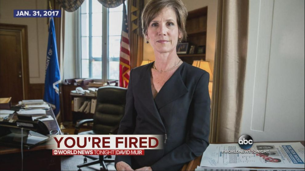 President Trump fires Sally Yates after she instructs Justice Department not to defend travel ban.