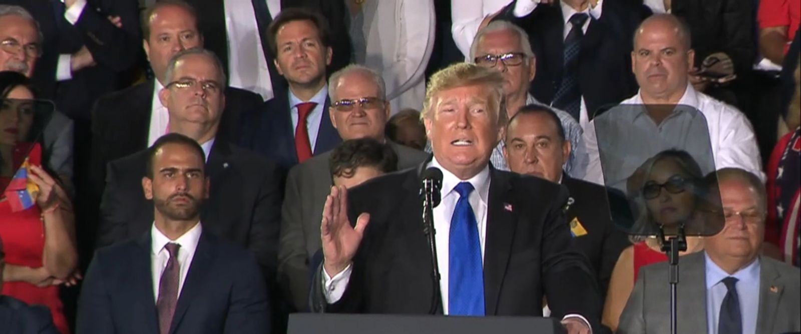 """""""He would rather see his people starve then give them aid,"""" President Trump said at an event in Miami."""