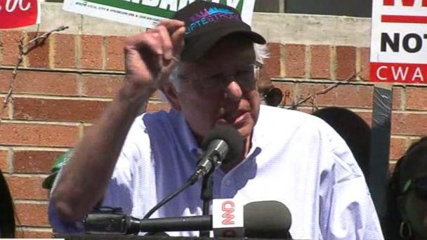 Bernie Sanders joins college workers during strike rally