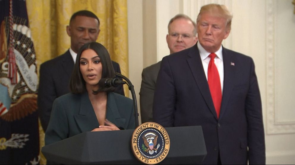 Image result for images of Kim Kardashian speaks at criminal justice reform event at the White House