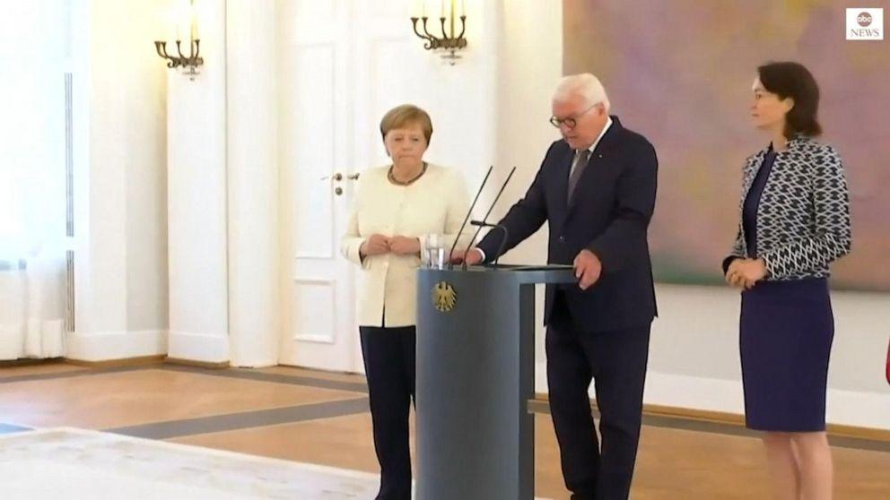 Germany's Merkel shakes again at event in Berlin