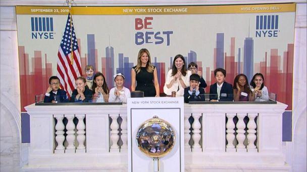 Melania Trump rings opening bell at New York Stock Exchange