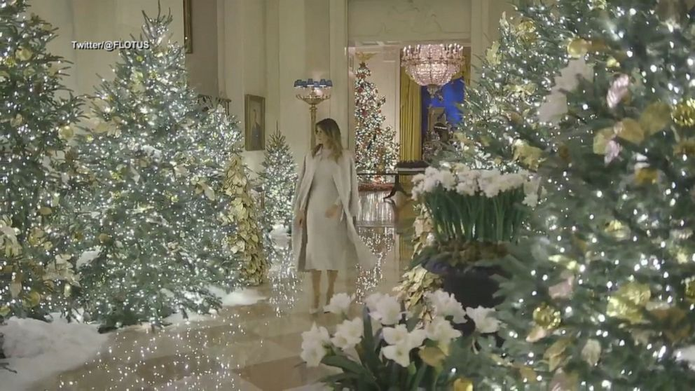 White House Christmas 2020 Handmaids After criticism, Melania Trump unveils patriotic themed White