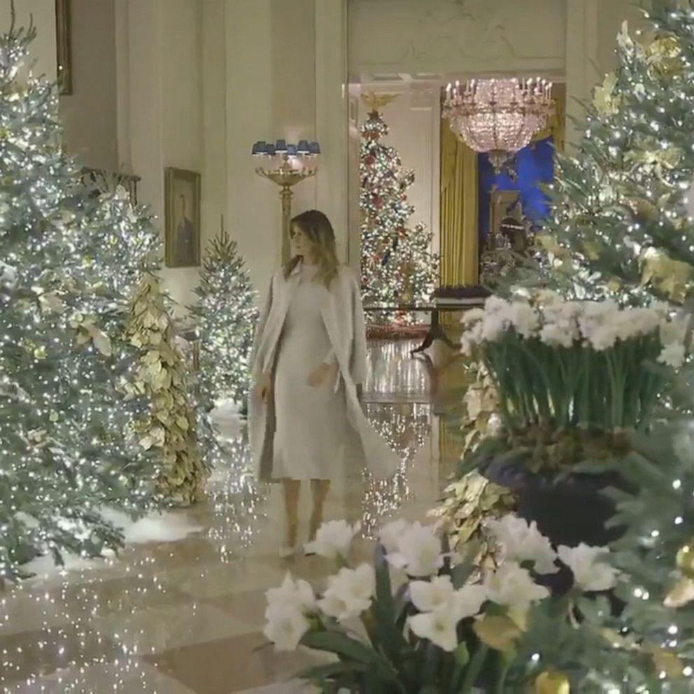 after criticism melania trump unveils patriotic themed white house christmas decorations abc news after criticism melania trump unveils
