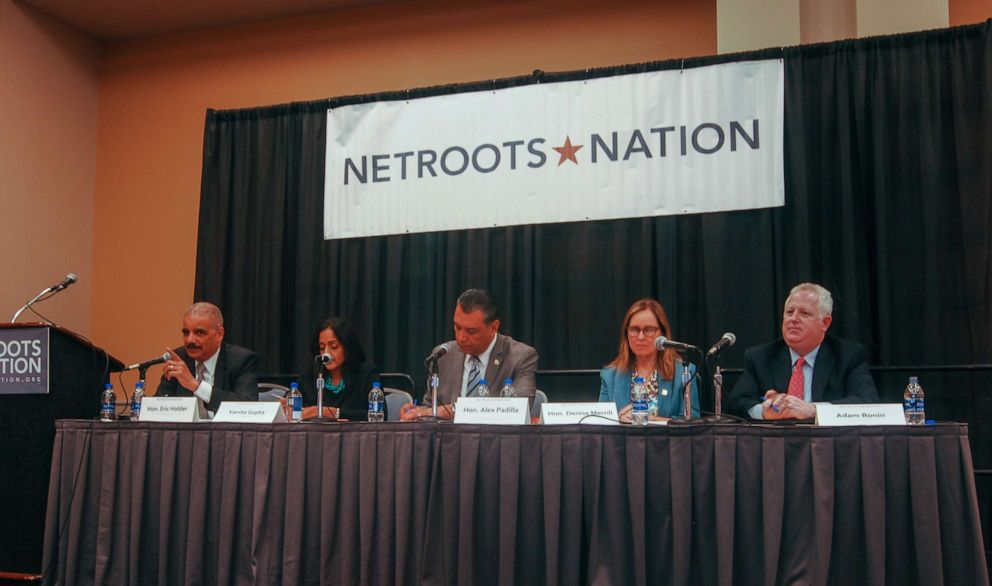 PHOTO: Eric Holder, Vanita Gupta, Alex Padilla, Denise Merrill, and Adam Bonin participate in a panel discussion about the U.S. Census at Netroots Nation 2019 in Philadelphia, on July 11, 2019.