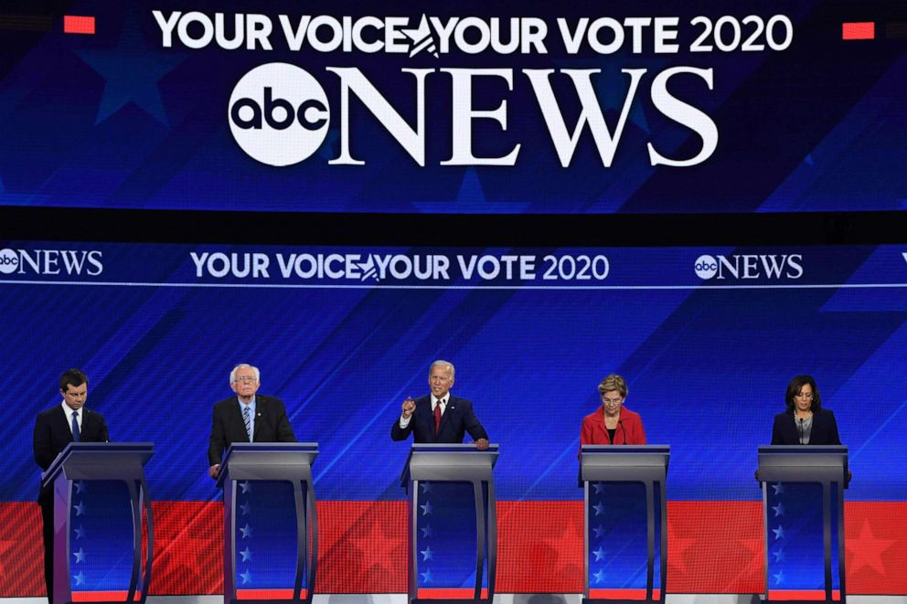 PHOTO: Democratic presidential hopefuls speak during the third Democratic primary debate of the 2020 presidential campaign season hosted by ABC News in partnership with Univision at Texas Southern University in Houston, Tx., on Sept. 12, 2019.