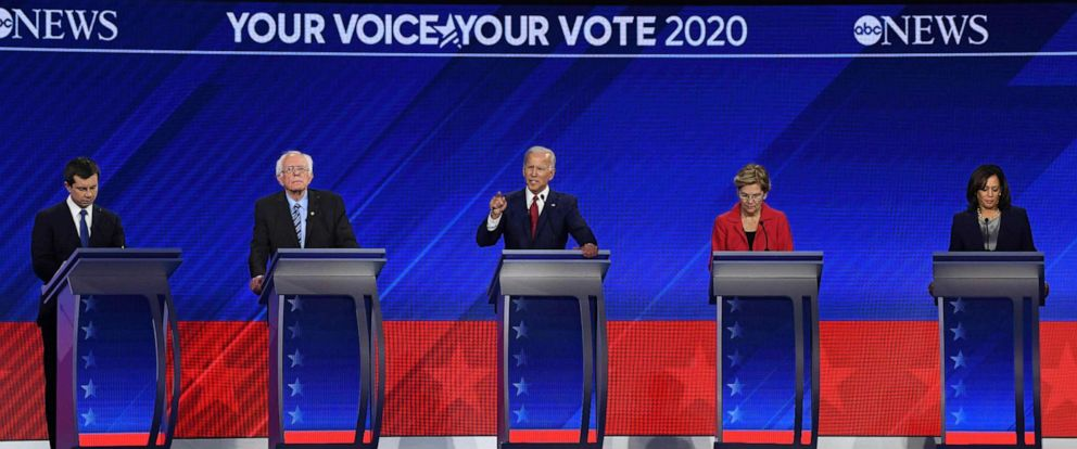 PHOTO: Democratic presidential hopefuls speak during the third Democratic primary debate of the 2020 presidential campaign season hosted by ABC News in partnership with Univision at Texas Southern University in Houston, Tx. on Sept. 12, 2019.