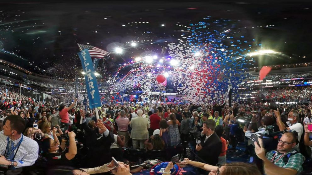 Balloons and confetti blanket the Wells Fargo Center to mark the end of the 2016 Democratic National Convention.