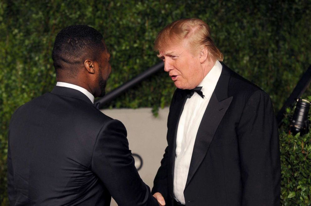 PHOTO: 50 Cent and Donald Trump arrive at the Vanity Fair Oscar party hosted by Graydon Carter held at Sunset Tower, Feb. 27, 2011, in West Hollywood, Calif.