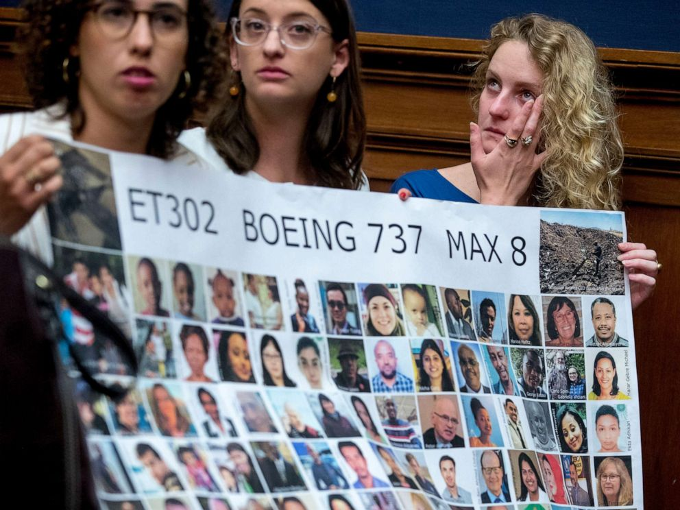 PHOTO: Friends of victim Samya Rose Stumo hold a sign depicting those lost in Ethiopian Airlines Flight 302 during a House Committee hearing on the status of the Boeing 737 MAX on Capitol Hill in Washington, June 19, 2019.