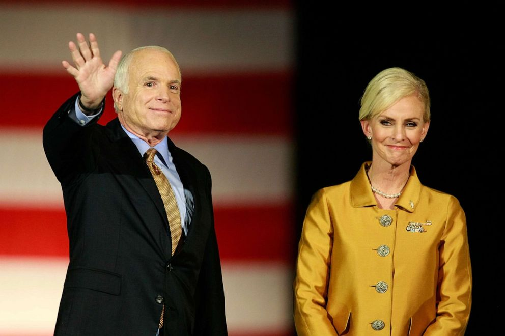 PHOTO: Republican presidential nominee U.S. Sen. John McCain (R-AZ) and wife Cindywave goodbye after he conceded victory during his election night rally at the Arizona Biltmore Resort & Spa on November 4, 2008 in Phoenix, Arizona.