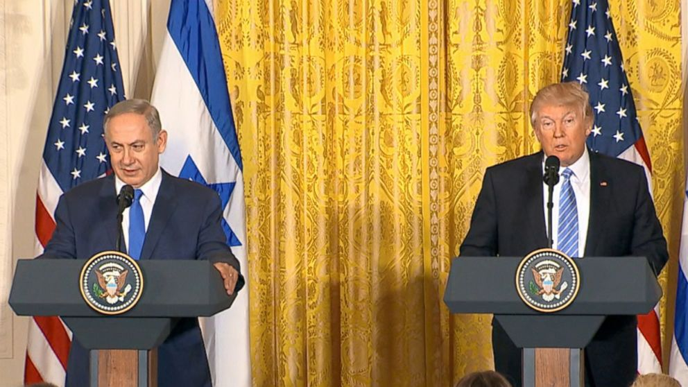 Israeli Prime Minister Benjamin Netanyahu and President Donald Trump speak at a joint press conference at the White House in Washington, Feb. 15, 2017.