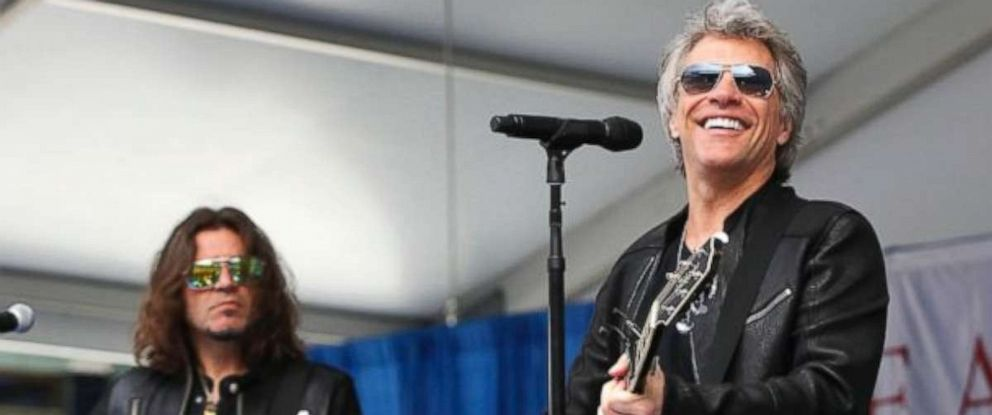 "PHOTO: Jon Bon Jovi surprised 2,600 students at Fairleigh Dickinson Universitys commencement ceremony with a performance of his song, ""Reunion"" at MetLife Stadium in New Jersey, May 16, 2017."