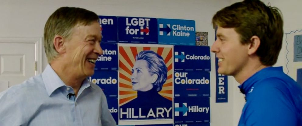 PHOTO: Colorado Governor John Hickenlooper talks about 2016 election cycle with ABC News Michael Koenigs