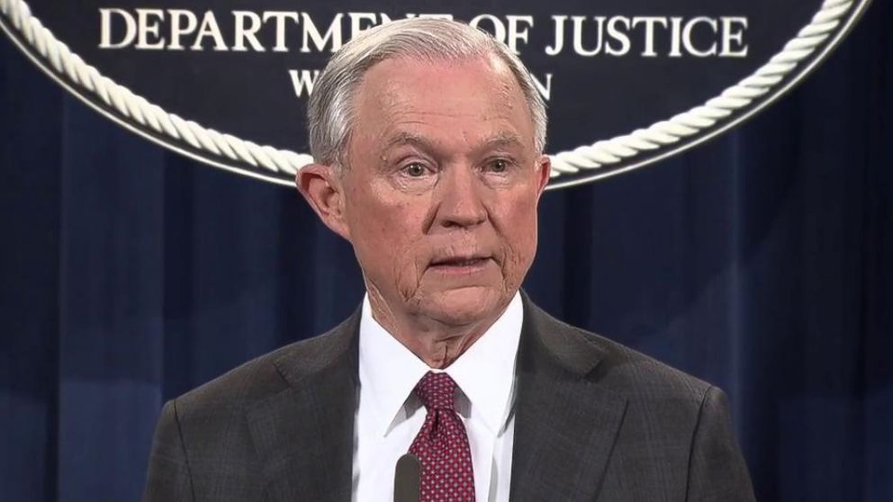Attorney General Jeff Sessions speaks at the Justice Department in Washington, March 2, 2017.