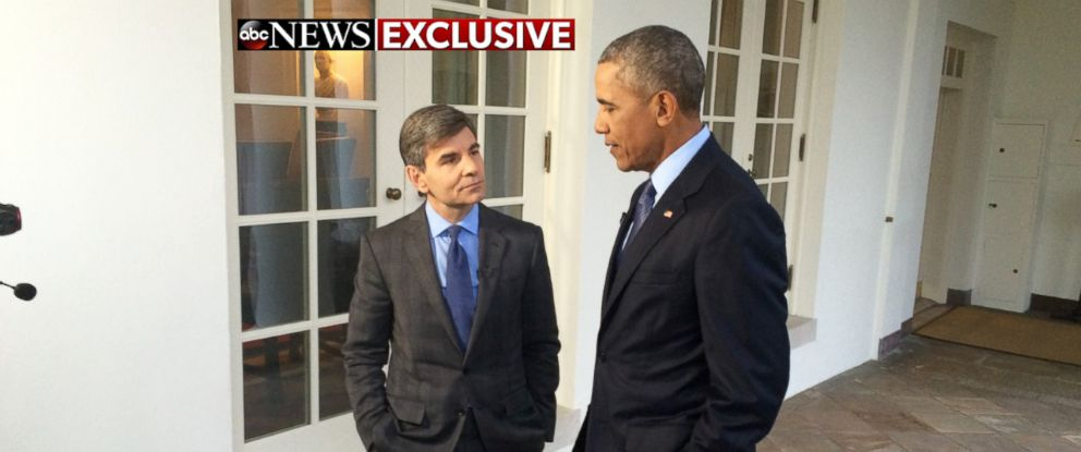 PHOTO: ABC News George Stephanopoulos talks with President Obama during an exclusive interview at the White House.