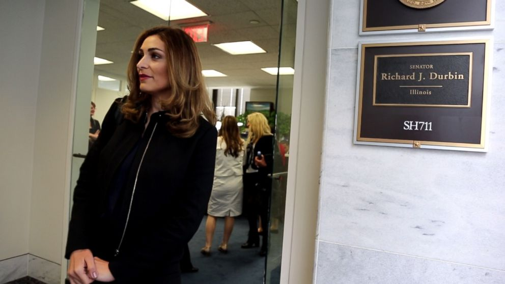Yasmin Kayali waits to speak with staff members from the office of Sen. Dick Durbin (D-Illinois) about how women can play a crucial role in rebuilding Syria.