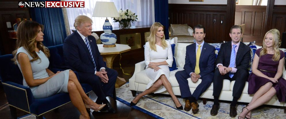PHOTO: The Trump family speaks to ABC News George Stephanopoulos in an exclusive interview, Oct. 26, 2016.