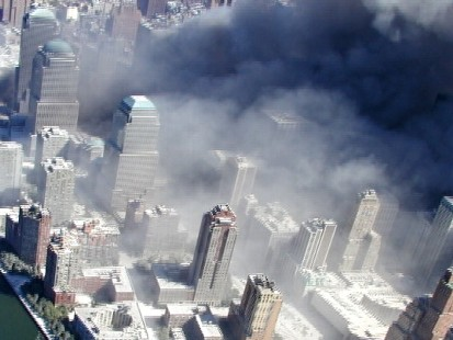Pics of 9/11 aerial shots of the World Trade Center.