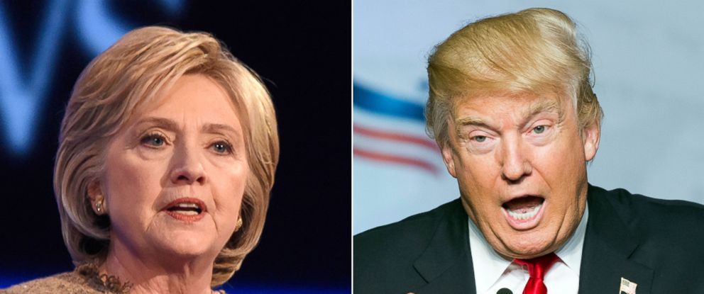 PHOTO: Hillary Clinton during the Democratic Presidential debate in Manchester, N.H., Dec. 19, 2015 | Republican presidential candidate Donald Trump, June 10, 2016, in Washington.