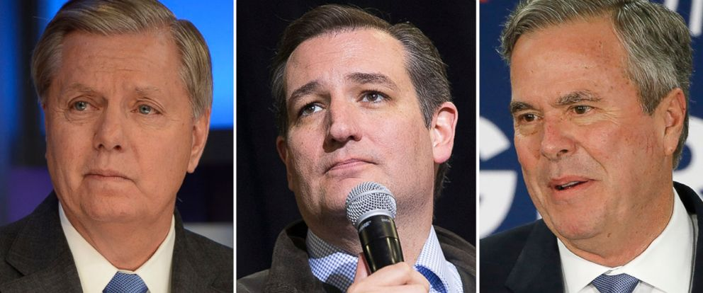 PHOTO: Sen. Lindsey Graham, Sen. Ted Cruz, and former Florida Gov. Jeb Bush.