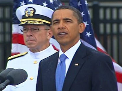 Video of President Obama paying tribute to the victims of 9/11.