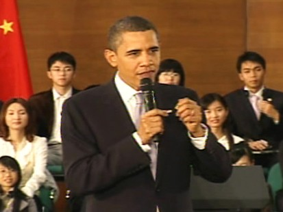 Video of President Obama in China saying he does not use Twitter.