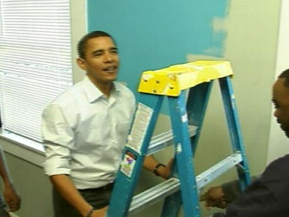 Video of Barack Obama pitching in on his national day of service.