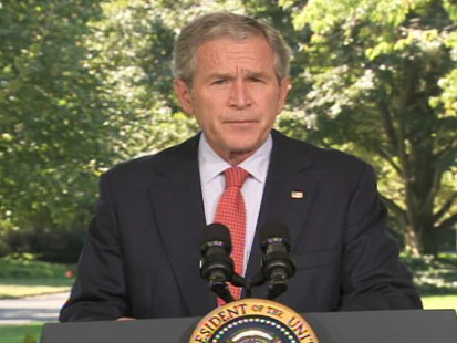 pic of bush discussing the economy from the white house