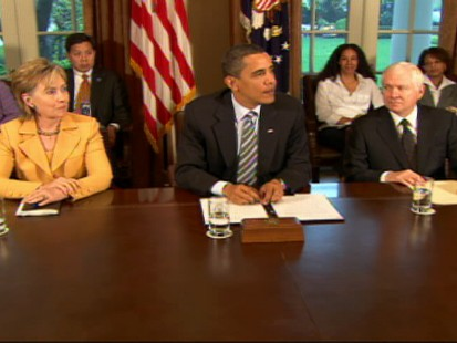 "Video of President Obama, flanked by his Cabinet, acknowledging a ""confidence gap"" on deficit."