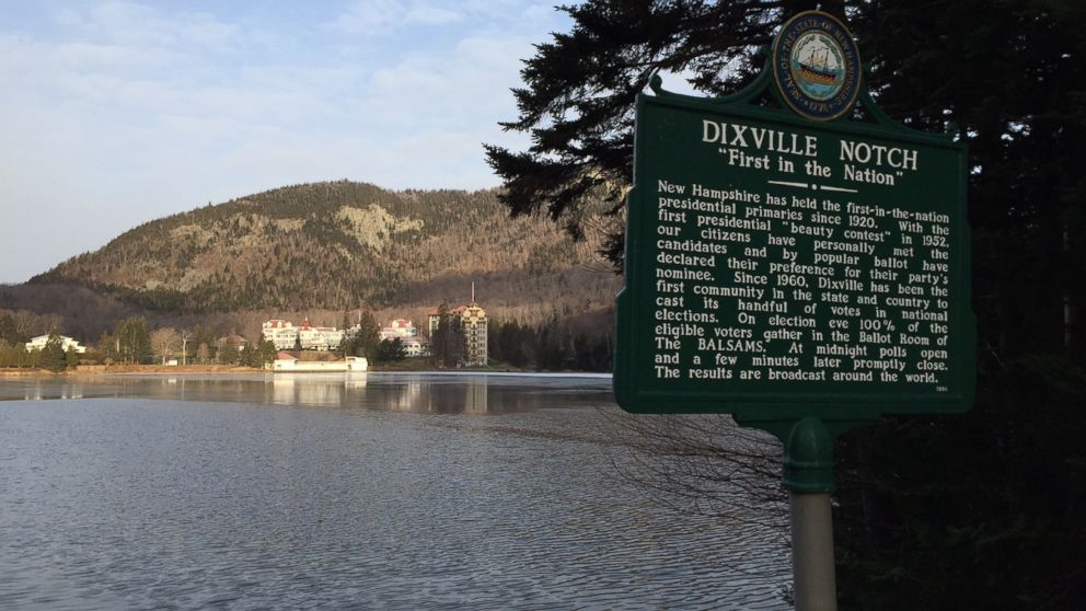 Dixville Notch has been known as 'First in the Nation' Since 1960, when nine residents voted at midnight. Most of its land is occupied by the historic Balsams resort.