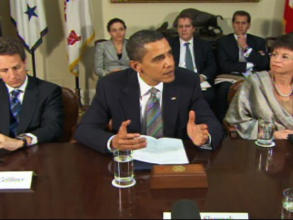 Video of Obama meeting with credit card execs to make case for more consumer protections.