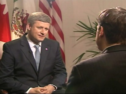Video of ABCs Jake Tapper interviewing Canadian Prime Minister Stephen Harper in Mexico.