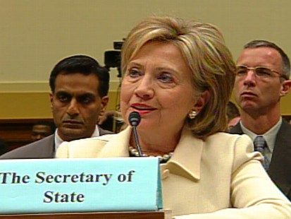 Video of Secretary of State Hillary Clinton on Capitol Hill hitting Vice President Dick Cheney on CIA terror memos.