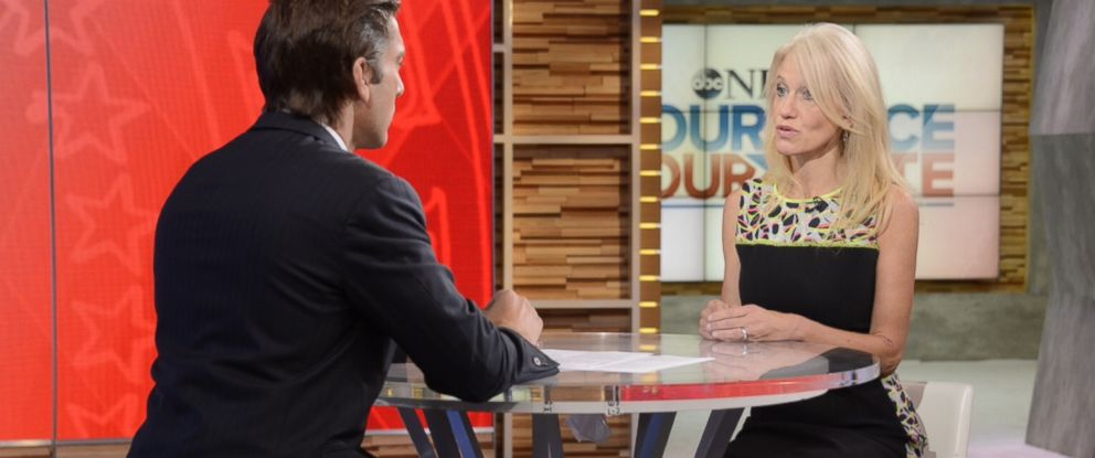"""PHOTO: Kellyanne Conway appeared on """"Good Morning America"""" with David Muir, Aug. 19, 2016."""