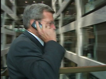 ABC News video of Max Baucus talking to Hoyer via cell phone.