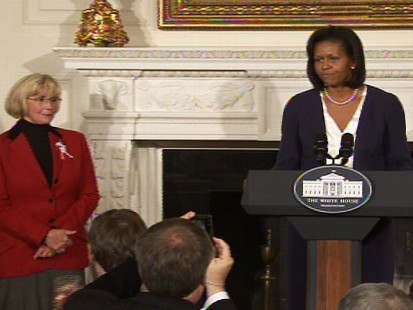 Video of Michelle Obama and Lilly Ledbetter discussing the equal pay for equal work bill.