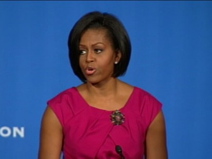 ABC News video of Michelle Obama speaking on healthy food, obesity.