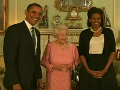 Video of The Obamas meeting the Queen in Europe.