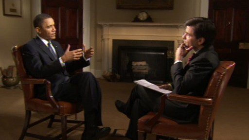 Video of George Stephanopoulos interviewing President Obama on health care and mistakes.