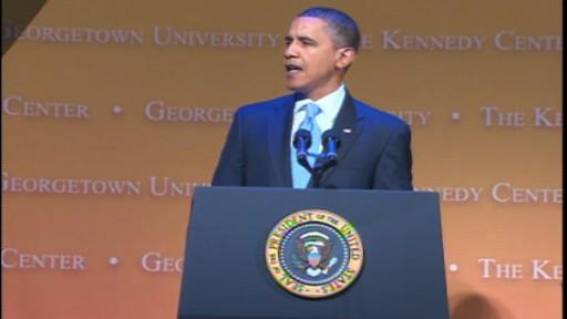 ABC News video of President Obamas speech on MLK, Jr. Day.