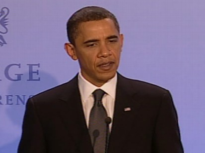 Video of President Obama being asked about his premature Nobel victory.