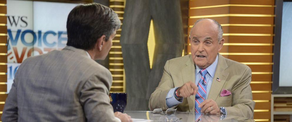 "PHOTO: Rudy Giuliani speaks to George Stephanopoulos on ""Good Morning America,"" Aug. 10, 2016."